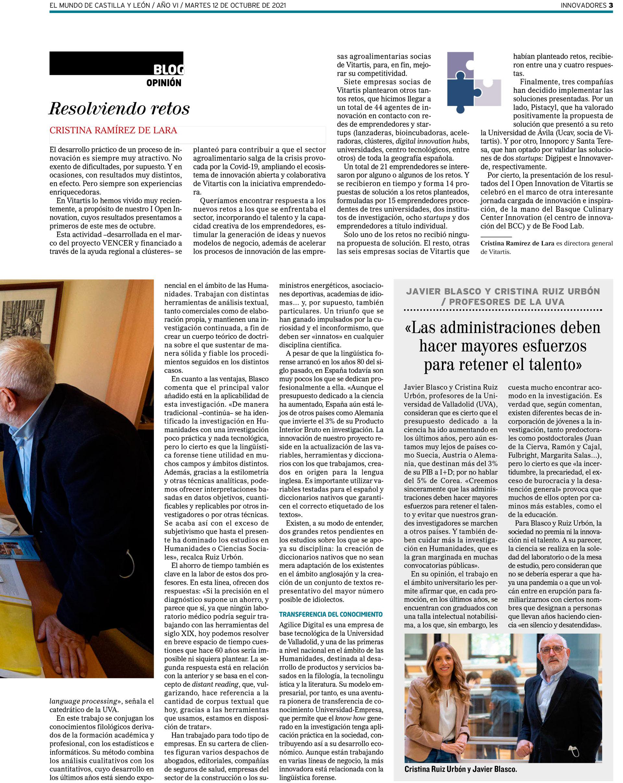 Entrevis a Javier Blasco y Cristina Ruiz en El Mundo